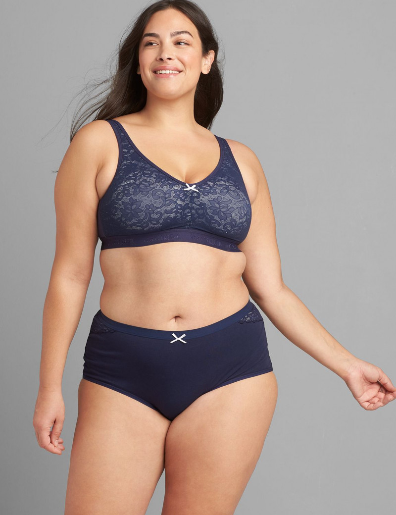 Lane Bryant Cotton Unlined No-Wire Bra with Lace