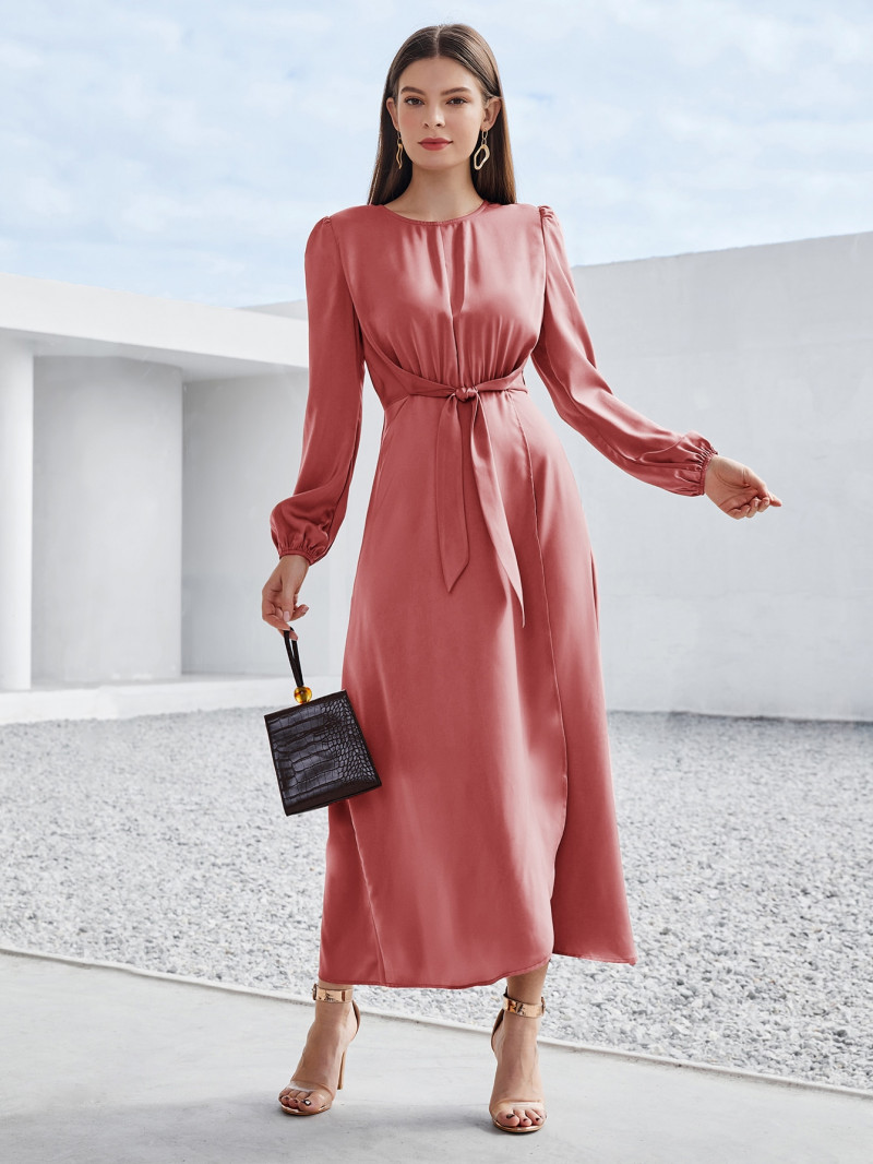 Shein Solid Tie Front Wrap A-line Dress