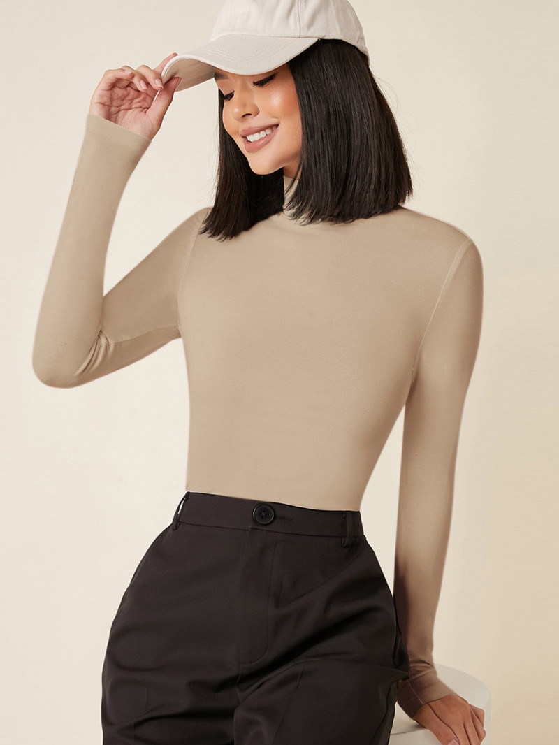 Shein SHEIN BASICS High Neck Solid Fitted Tee